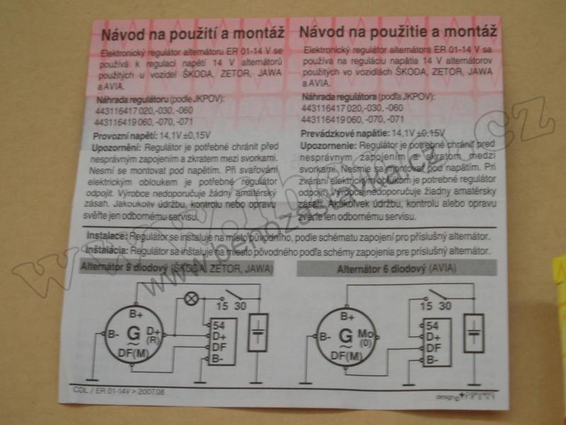 Elektronicky Regulator Alternatoru Er 01 14v Zetor Jawa Avia Skoda